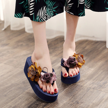 Flower Women Sandals Platform Wedges Sandals Slippers Summer Flip Flops Red/Blue/Black Female Shoes Casual Lady Shoes Footwear цены онлайн