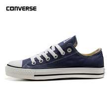 0ab89c3fe Converse All Star классический холст низкий Топ Скейтбординг обувь унисекс  синий анти-скользкие Sneakser 35