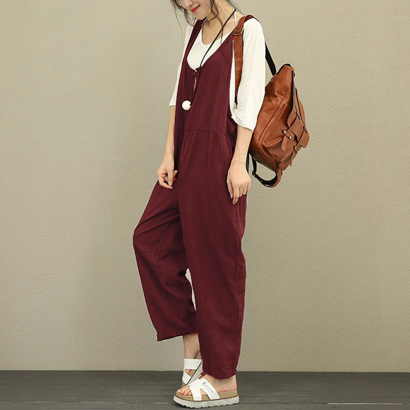 72d7b21ded7 Celmia Women Jumpsuit 2018 Summer Autumn Casual Bottom Sleeveless Backless  Rompers Solid Loose Linen Playsuit Plus Size Overalls-in Jumpsuits from  Women s ...