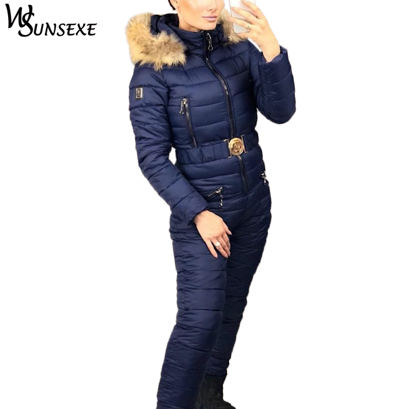 Winter Warm Ski Suit Elegant Cotton Padded Hooded Jacket Coat with Real Fur Zipper One Piece