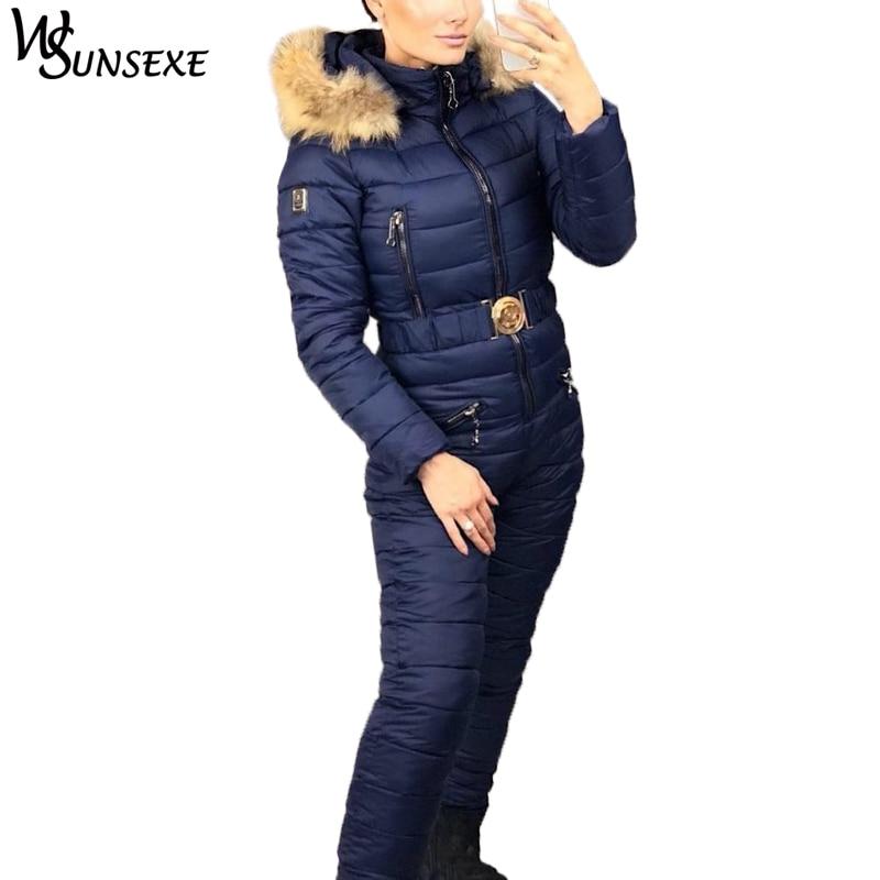 Winter Warme Ski Anzug Elegante Baumwolle Gepolsterte Kapuze Jacke Mantel Mit Echtpelz Zipper One Piece Overalls Frauen Casual Trainingsanzüge Moderater Preis
