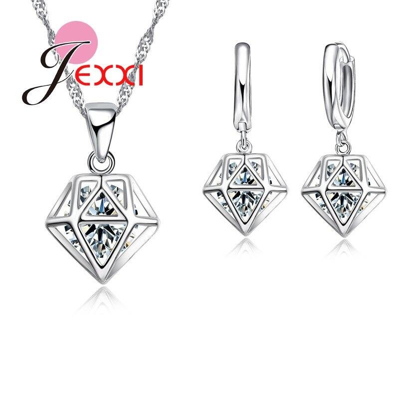 JEXXI Hollow Geometric Hexagon CZ Design Charm PendantNecklaceEarrings Jewelry Set S90 Silver Accessories