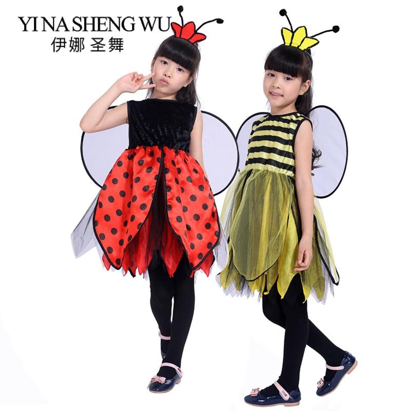 Girls Halloween Animal Cosplay Costume Child Girl Ladybug Bee Costume Carnival Halloween Dress Up Show Party Dress Ladybug Bee