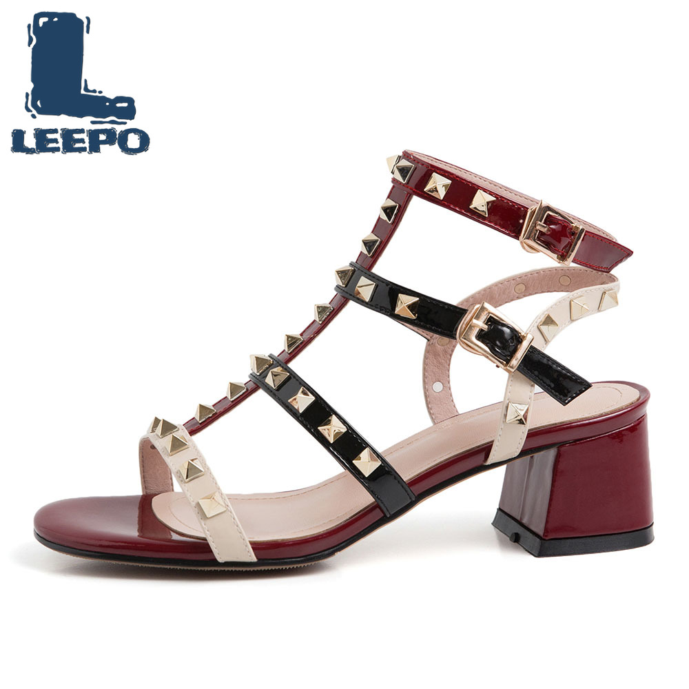 LEEPO Shoes Woman Ankle Strap Rivet Sandals Female Luxury Brand Summer Strappy Pumps Women Buckle High