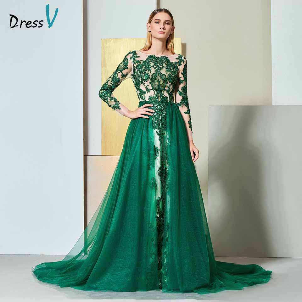 Dressv green   evening     dress   scoop neck long sleeves lace floor-length wedding party formal   dress   a line   evening     dresses
