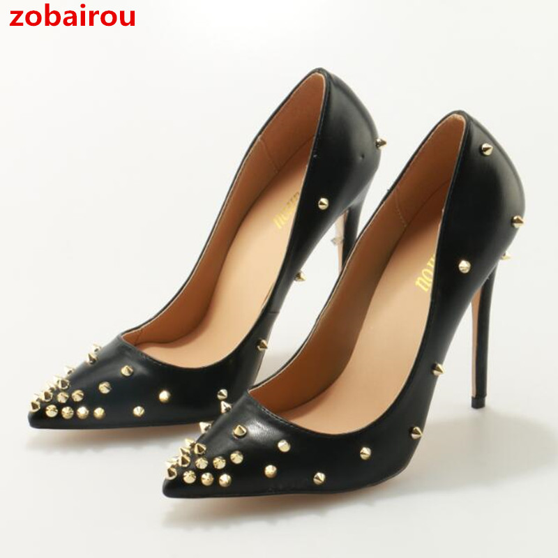 faaf81d42f6 Zobairou Super High Heels Pointed Toe Women Pumps Gold Rivets Studded  Wedding Party Dress Stiletto Black. US  34.55. Fashion Ladies Motorcycle  Ankle Boots ...