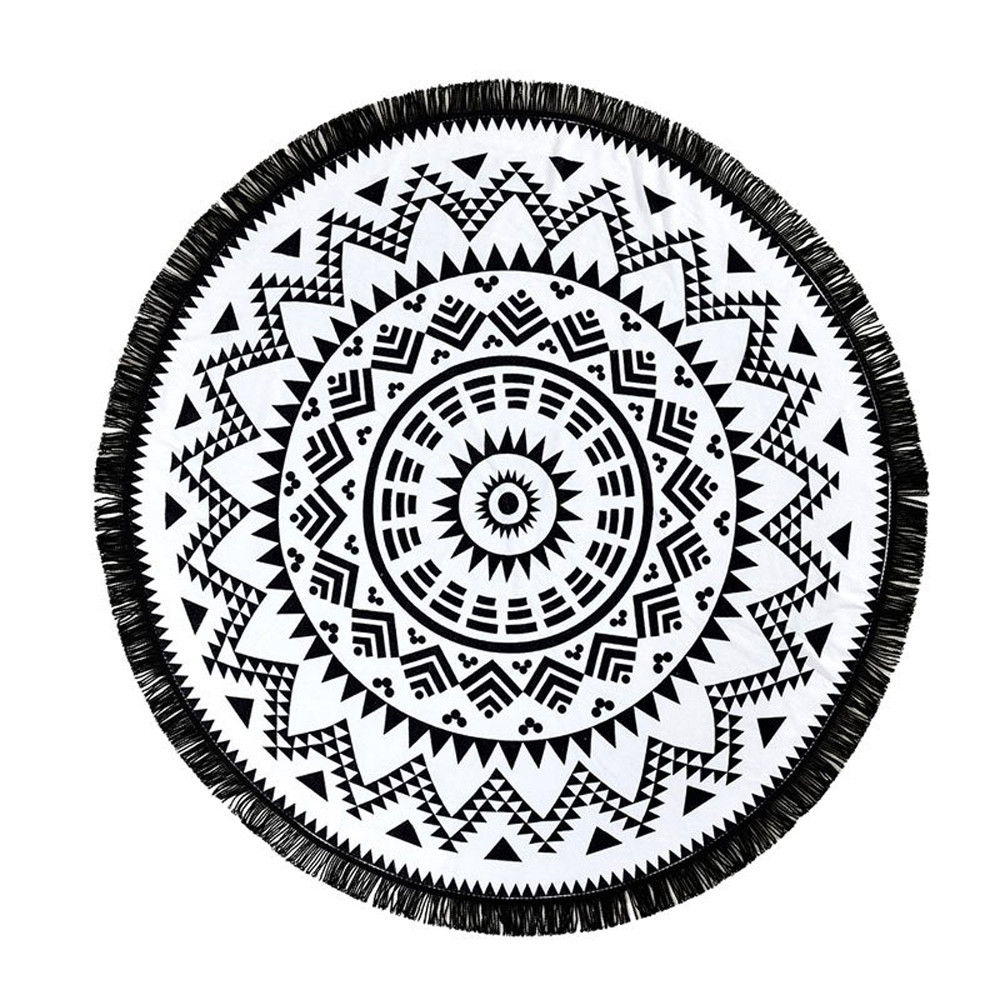 Towel Mat Bohemian Hippie Round Yoga Beach Throw Tablecloth Mandala Tapestry gif