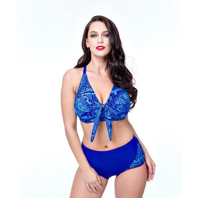2017 New Arrival Plus Size Bikini Set Push Up Print Swimwear High Waist Women Swimsuit Halter Women Big Chest Bathing Suit