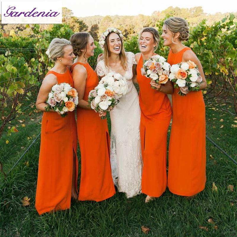 Modest Orange Color Bridesmaid Dresses Side Long Chiffon Weddin Party Gowns Vestido De Madrinha Casamento Longo Bsd033 In From