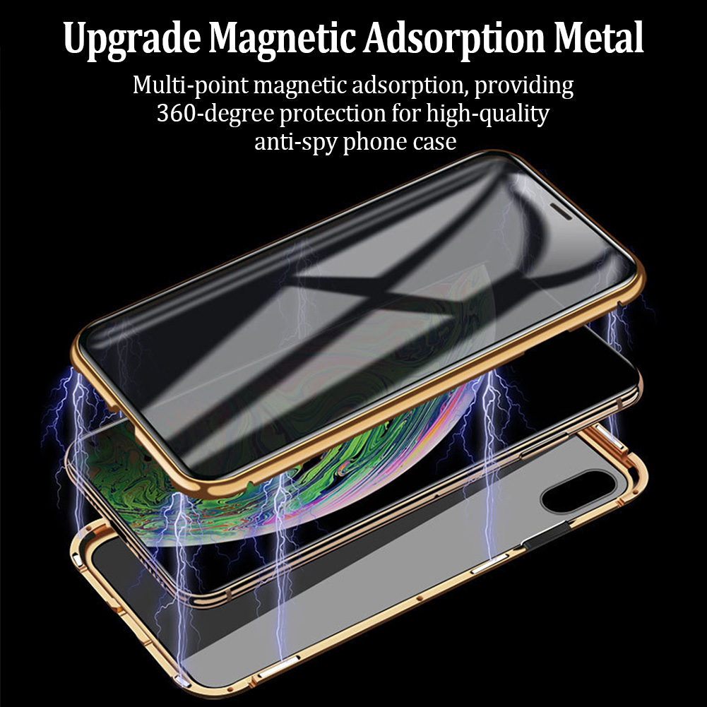 Phone - Privacy Magnetische Gehard Glas Case voor iPhone X XS MAX 8 7 Plus
