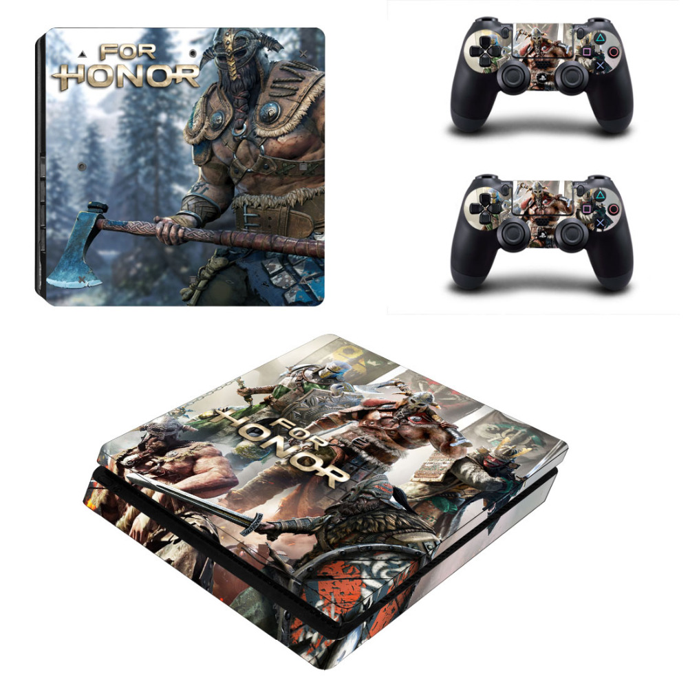Game For Honor Decal PS4 Slim Skin Sticker For Sony PlayStation 4 Console and 2 Controllers PS4 Slim Skin Sticker Vinyl