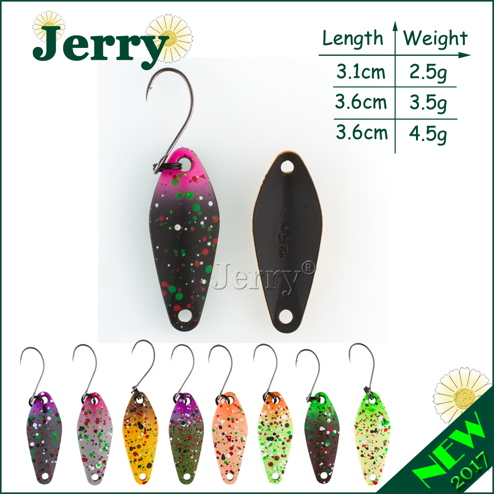 Jerry two side painting micro fishing spoon trout lures UL ultralight fishing tackle freshwater artificial bait