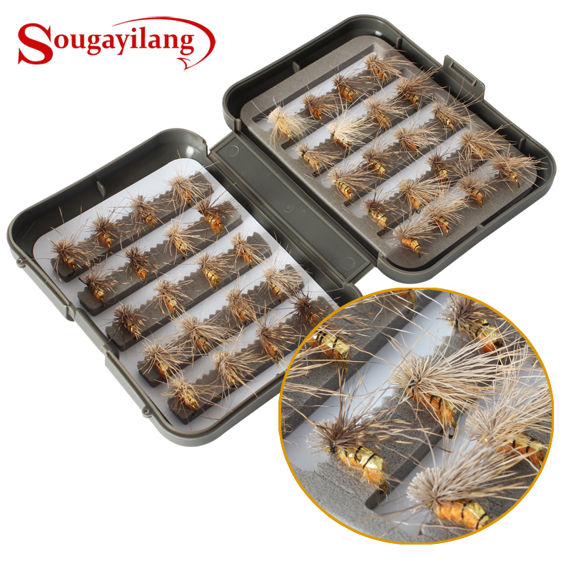 Sougayilang Promotion Fly Fishing Hooks 40pcs/box Fly Style Salmon Flies Trout Single Hook Dry Fly Fishing Lure Fishing Tackle
