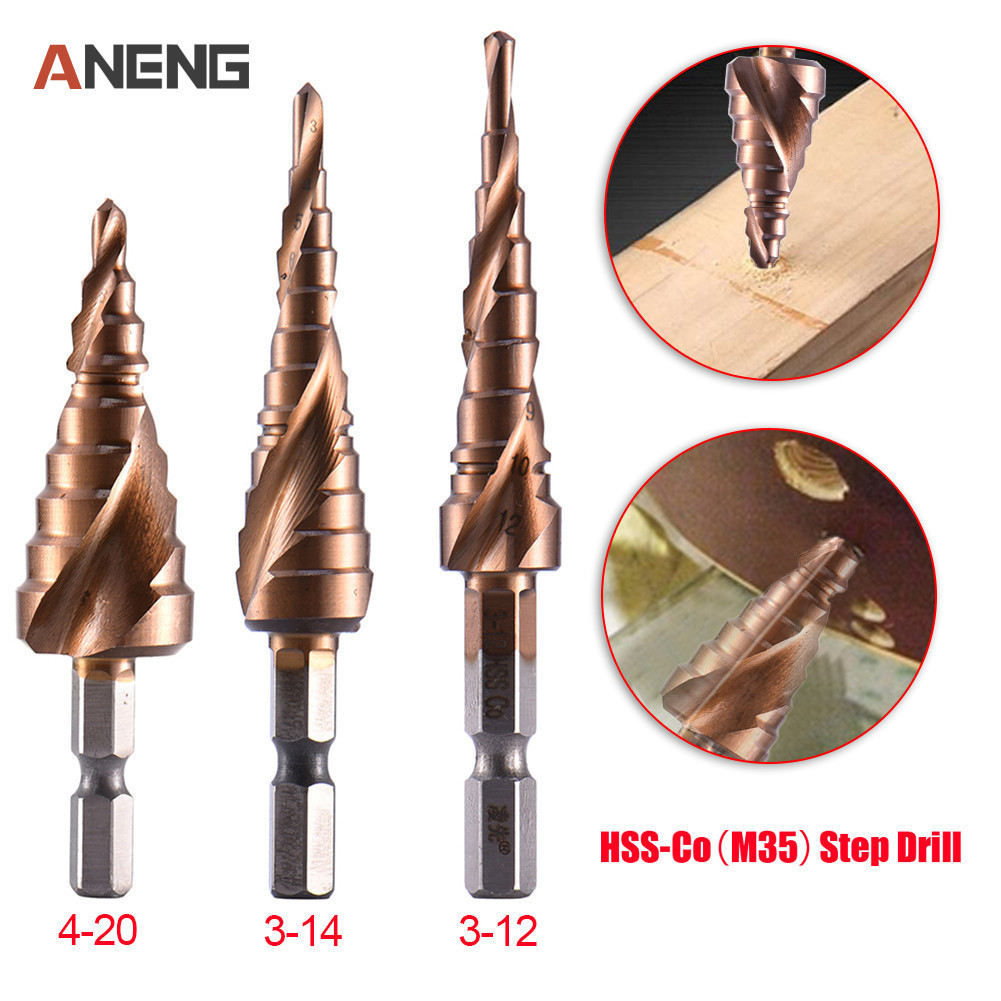 3pcs for Stainless Steel Cutting Atoplee HSS6542 Spiral Groove Step Drill Bit