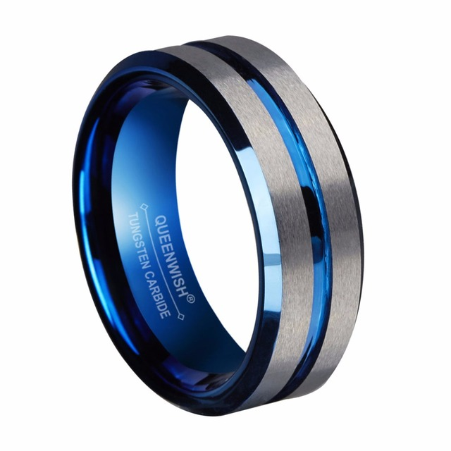Queenwish Engagement Rings Mens Blue Tungsten Carbide Ring Silver Brushed Matte Grooved Center Anniversary Fashion