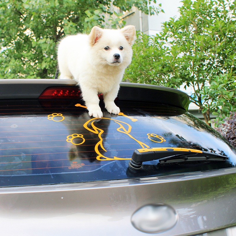 BEMOST Car Styling Animal Cartoon Funny Spotted Dog Moving Tail Car Stickers Reflective Auto Window Wiper Decals 24 3 22cm in Car Stickers from Automobiles Motorcycles