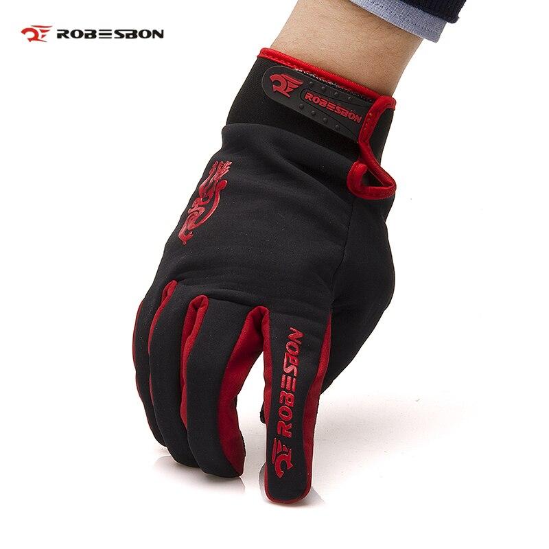 ROBESBON Bike font b Glove b font Windproof Lycra Fabric Full Finger Cycling font b Gloves
