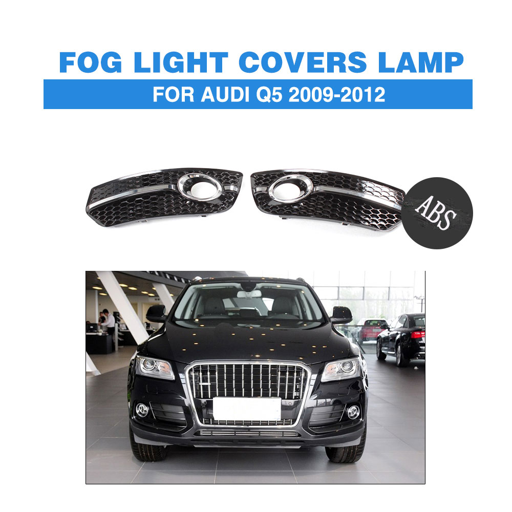 2PCS/Set Front Fog Light Covers Lamp Honeycomb Masks Trim Fit For Audi Q5 2009-2012 ABS Black Car Styling