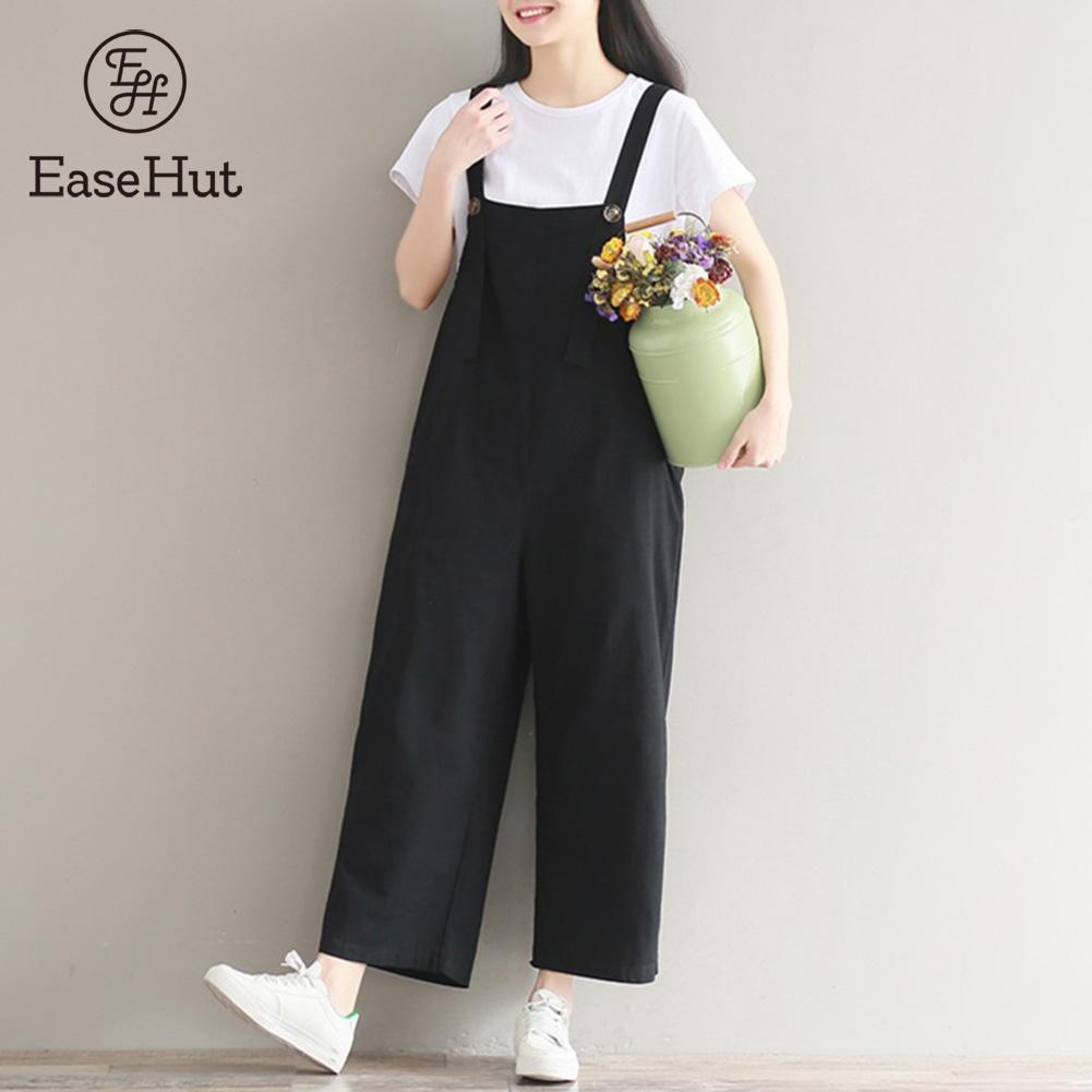 EaseHut Rompers Womens Jumpsuits Loose Suspender Casual Pockets Strappy Sleeveless Dungaree Cotton Linen Overalls Plus Size
