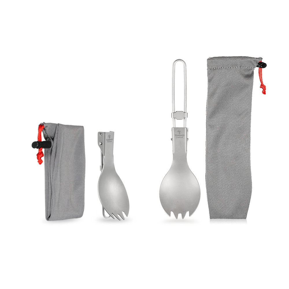 Humorous Tomshoo Titanium Spoon Fork Folding Outdoor Camping Hiking Backpacking Dinner Spork Utensil Camping Tableware