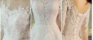 Image 5 - New Fashion Simple 2020 Wedding Dresses Lace Three Quarter Sleeve O Neck Elegant Plus size Vestido De Noiva Korean Bride Gowns