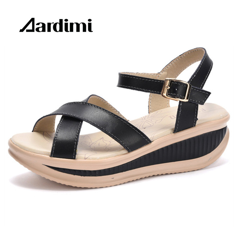 New 2018 Women Sandals Genuine Leather Summer Sandals For Woman Fashion Wedge Sandals Gladiator Summer Platform Shoes Woman bohemia women casual platform sandals fashion rubber wedge gladiator sexy female sandals ladies summer women shoes dbt570