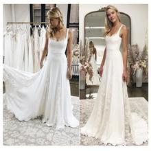 Square Collar Chiffon Lorie Wedding Dress  Lace Bride Backless Floor Length Dresses Vestido De Novia
