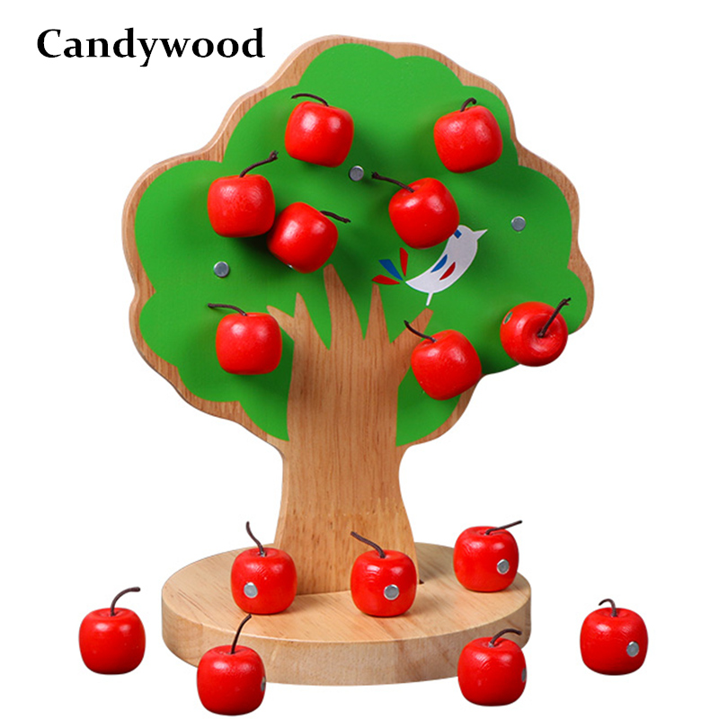 2018 New Montessori Wooden Magnetic Apple Tree Math Toys Early Learning Educational Wooden Toys For Children Boys