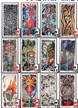 5 PCS/lot Mixed Nylon Elastic Fake Temporary Tattoo Sleeve Designs Body Arm Stocking Tatoo Cool Men Women