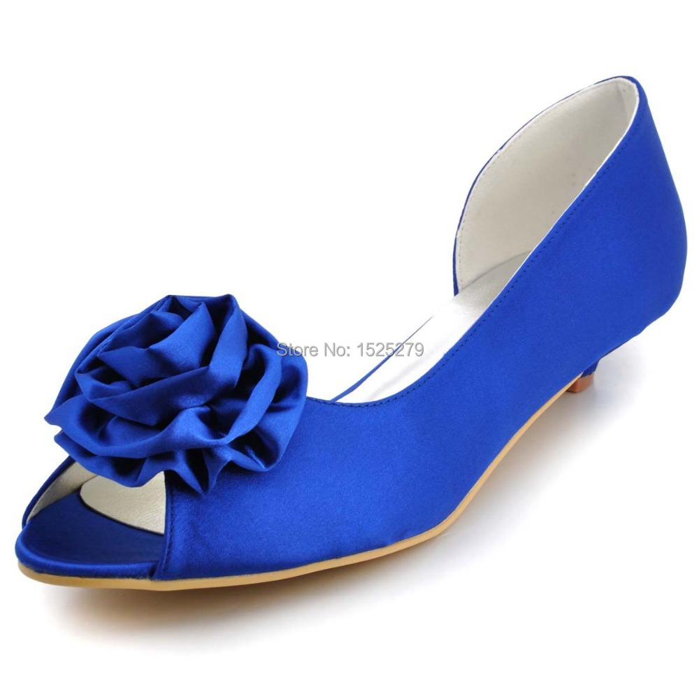 Women Shoes WM-007 Blue Ivory White Bridal Party Low Heels Prom Pumps Peep Toe Flower Satin Lady Wedding Bride Dress Shoes
