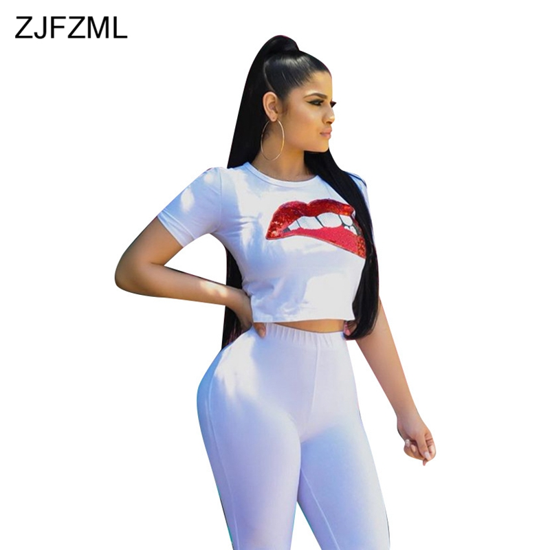 ZJFZML Two Piece Set Short Sleeve Sexy Lips Sequined Tops and Bodycon Shorts Sweat Suit Casual Tracksuit Summer Outfits For Wome
