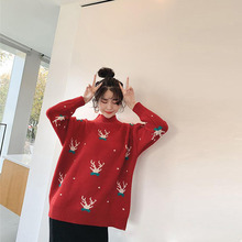 Women Sweaters And Pullovers Plus Size Christmas Sweater For Winter 2019 New Year Sweater Warm Knitted Sweater Female Jumper Top