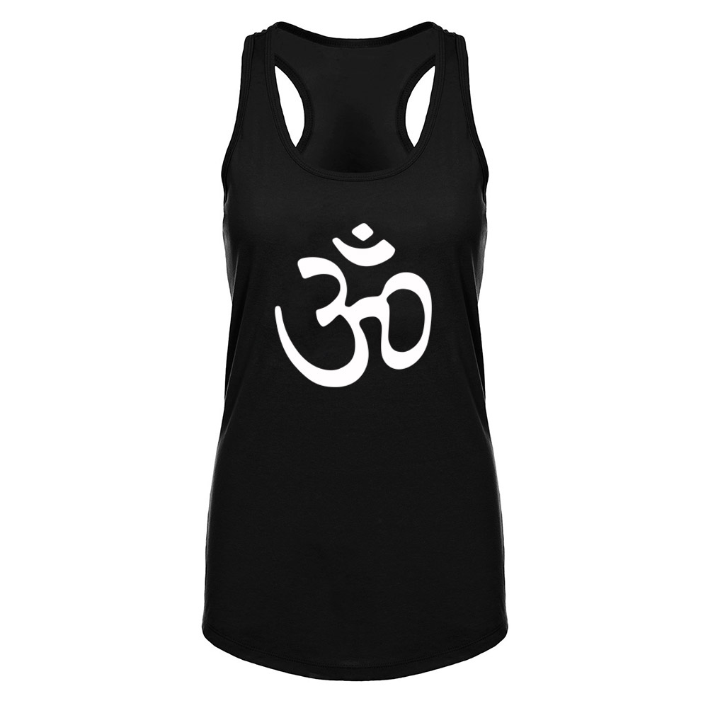 Womens Aum Om Ohm India Symbol Burnout Fitness Workout Racerback Tank Tops