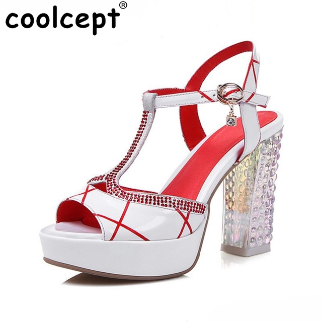 95f570f696 women real genuine leather ankle strap peep toe square high heel sandals  sexy fashion brand ladies heeled shoes size 30-45 R6922
