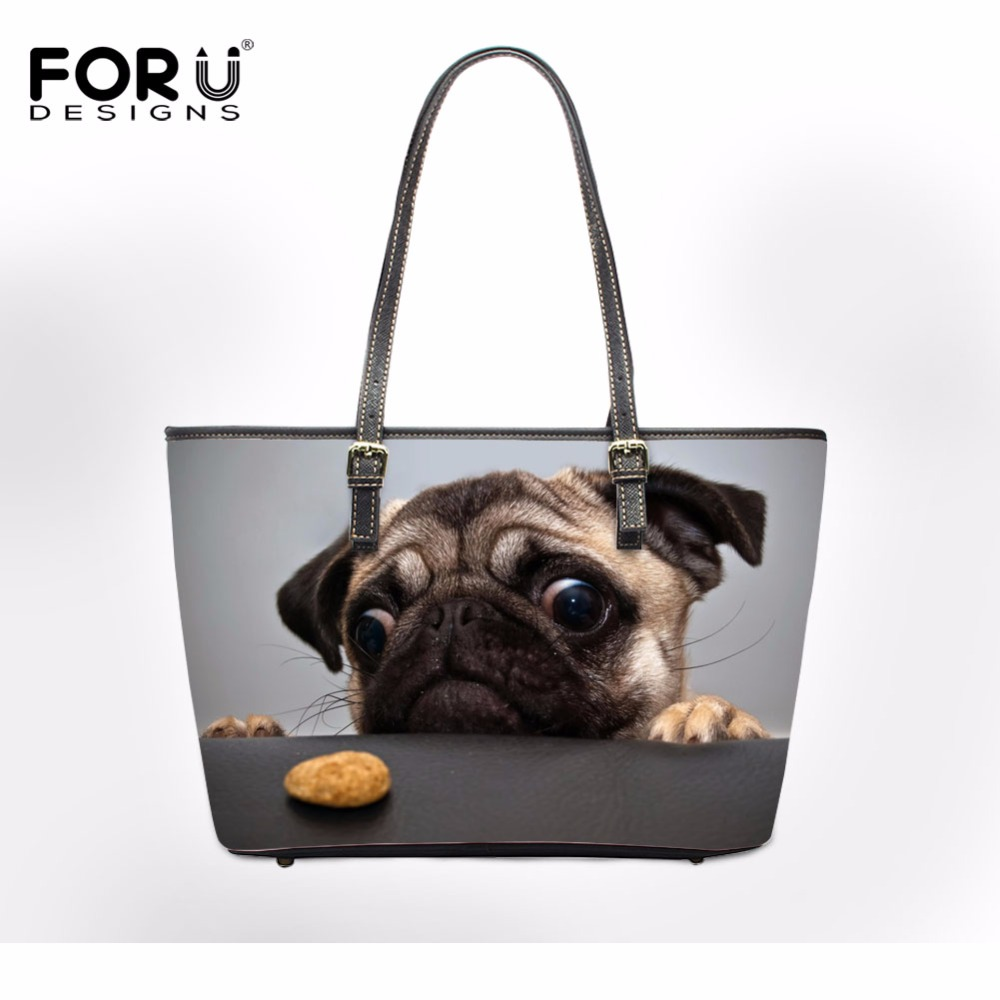 FORUDESIGNS Women Fashion Casual Handbag Large Ladies Tote Bag 3D Pug Dog Woman Cross-body Bags Feminine Bolsas For Teen Girls hot fashion chinese style women handbag embroidery ethnic summer fashion handmade flowers ladies tote shoulder bags cross body