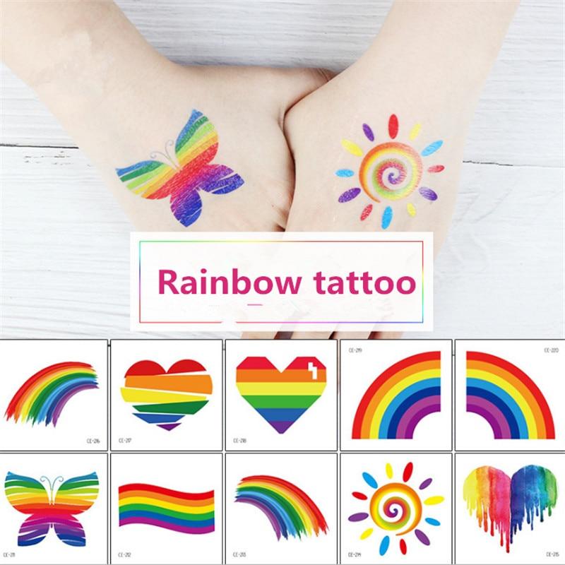 10pc Waterproof Rainbow Tattoo Sticker Rainbow Face Sticker Sports Club Camouflage Stripe Love Sticker Tattoo Party Decoration-S