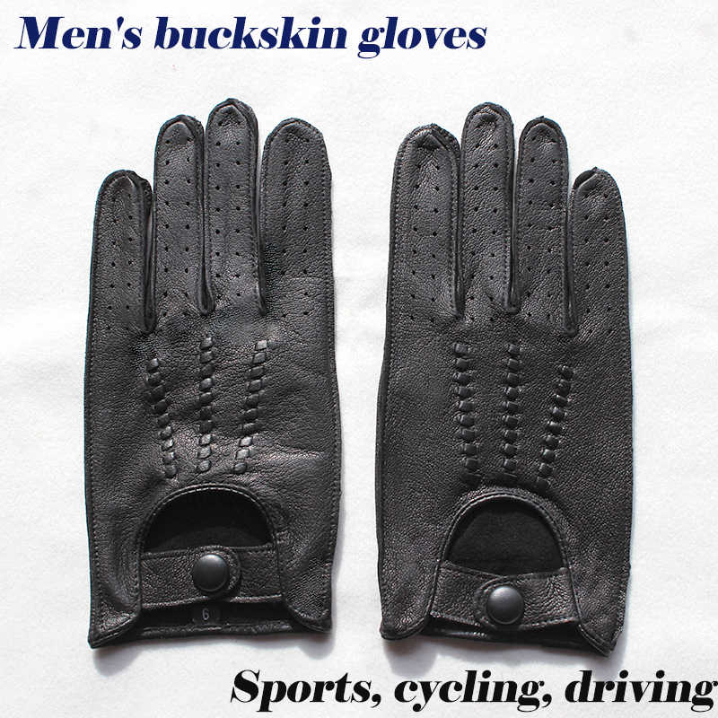 Deerskin Fingerless Gloves Half Finger Leather Driving Motorcycle Cycling Riding Unlined Gloves Mens Genuine Leather Gloves