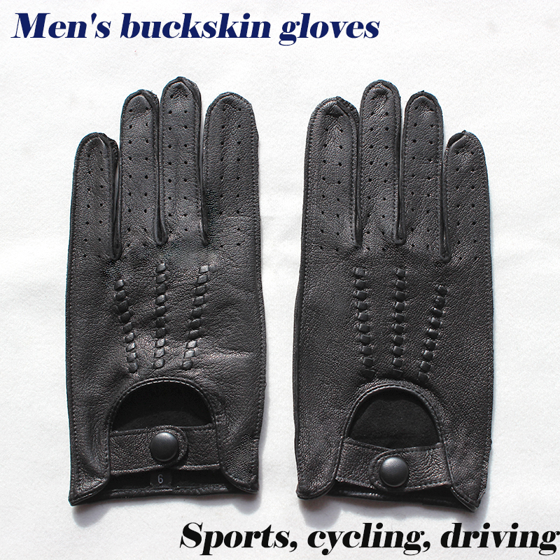 Buckskin Gloves Men's Unline Single Layer Thin Style Hollow Breathable Driving Riding Repair Leather Driver Gloves Free Shipping