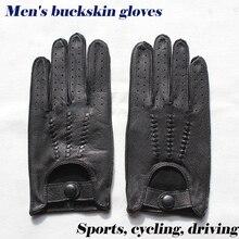 Deerskinถุงมือผู้ชายถุงมือหนังUnlined Single Layer Thin Hollow Breathableรถจักรยานยนต์ขี่รถขับรถฤดูใบไม้ผลิและฤดูใบไม้ร่วง