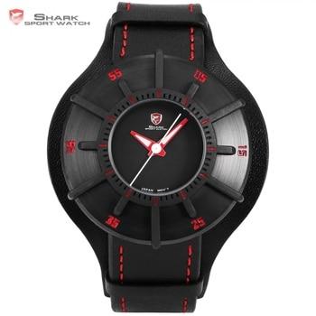 d466caeed6b5 Reloj deportivo de tiburón sedoso 3 D artesanía negro rojo superior lujo  marca reloj hombres correa de cuero genuino banda trasera reloj de cuarzo  SH483