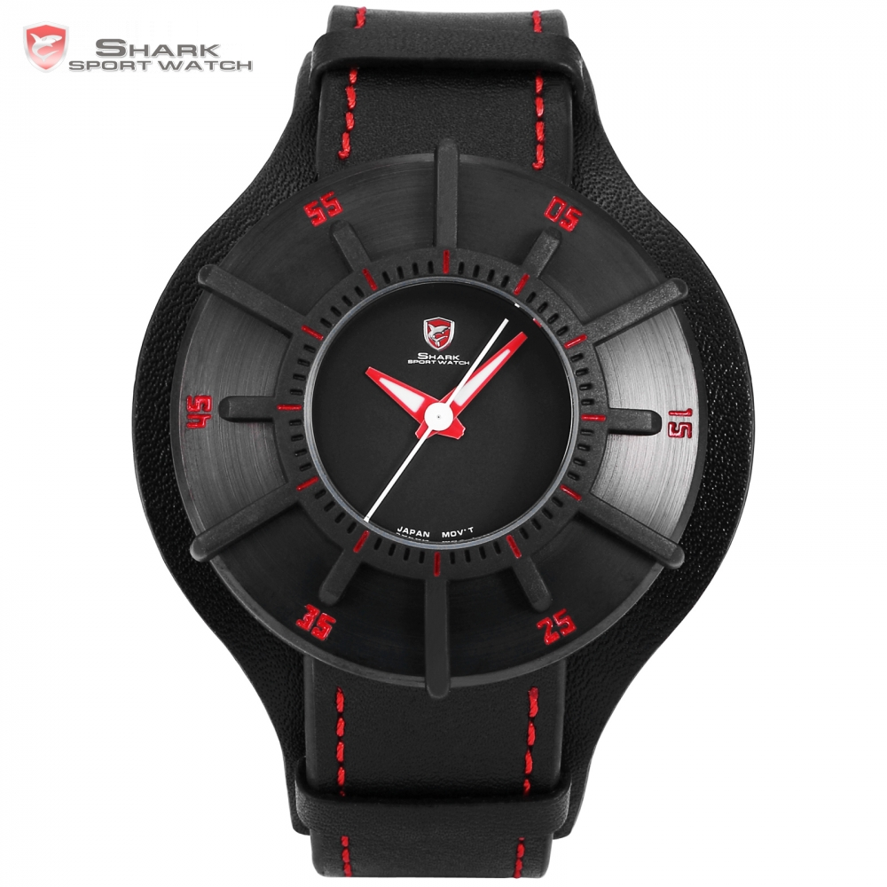 Silky Shark Sport Watch 3 D Craft Black Red Top Luxury Brand Watch Men Genuine Leather Strap Band Back Case Quartz-watch / SH483 все цены