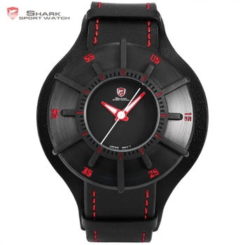 Silky Shark Sport Watch 3 D Craft Black Red Top Luxury Brand Watch Men Genuine Leather Strap Band Back Case Quartz-watch / SH483