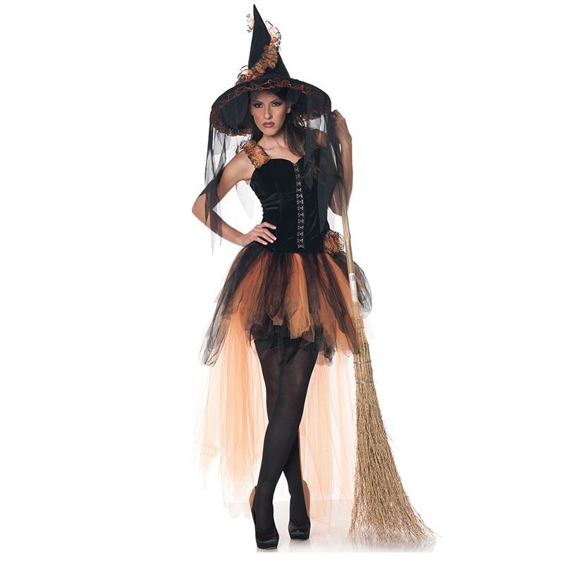 ฮัลโลวีฟชุดแต่งกายสตรี Orange & Black Witch L15529