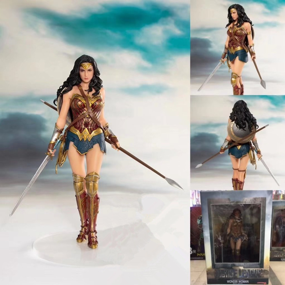 ALEN 19cm DC justice League Action Figure Toy Wonder Woman Statue ARTFX Collection Model Brinquedos Figurals Decoration Gift batman figure justice league artfx statue x men weapon x iron man bruce wayne action figure model collection toy