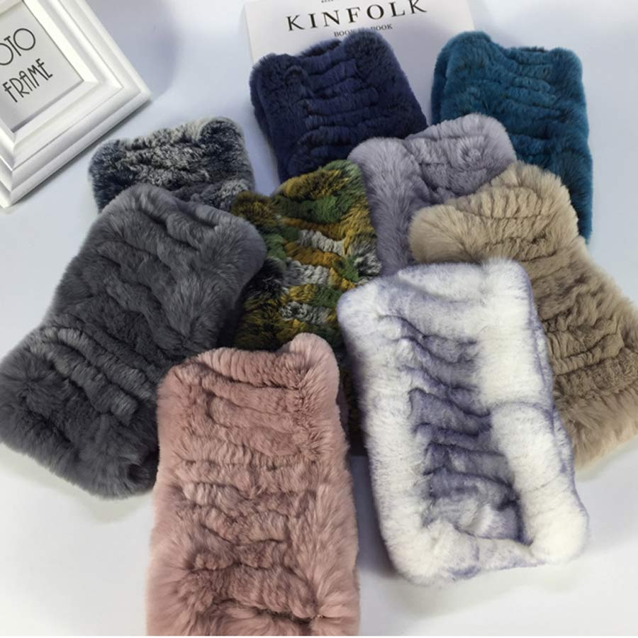 New Design Women Real Fur Handmade Stretch Fur Scarf Knit Genuine Rex Rabbit Fur Headbands Girls Natural Fur Ring Scarves Winter