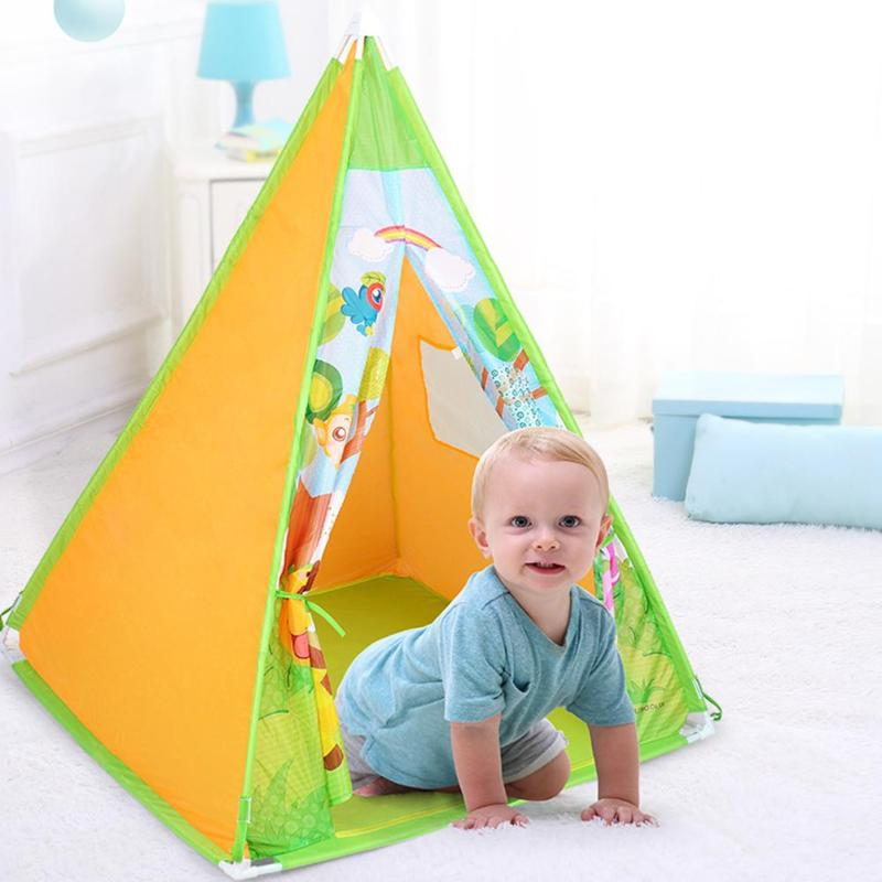 Hot Selling Four Poles Kids Trigonometric Tents Teepee Children Cartoon Play Tent Plastic Canvas Tipi for Baby Room Toy Ins