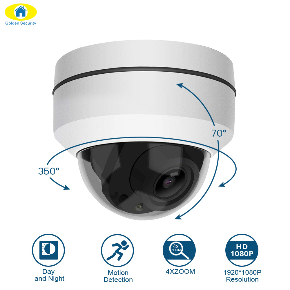 Wireless 4X Zoom Lens PTZ IP Camera HD 1080P Indoor Dome Camera 2.8~8mm Auto Focus 2MP 50M IR Night Vision Security Camera