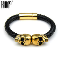 HIP 2 Colors Gold Plated Stainless Steel Magnetic Clasp Leather Rope Skull Bracelets Bangles Men S