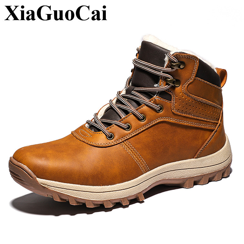 Genuine Leather Shoes Men Boots with Fur Winter Warm Large Size Lace up Flat Martin Boots Outdoor Tooling Boots Anti skid Bootie