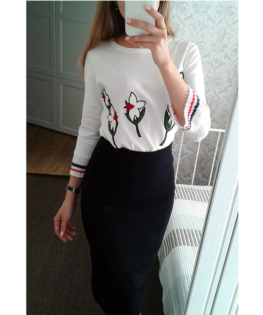 Yeeshan Embroidery Floral Sweater Women Chiffon Cuff  Women Sweaters and Pullovers Navy Blue Autumn Women's Sweater Luxury Brand